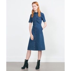Zara Trafaluc Button Front Denim Dress Midi Large